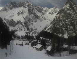 La Fouly – Télélafouly Skipiste und Blick nach Mont Dolent webcam Live