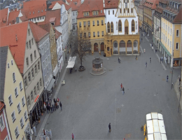 Marktplatz in Amberg – Blick in Richtung Rathaus webcam Live