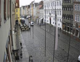 Landshut – Blick vom Rathaus in Richtung Martinskirche webcam Live