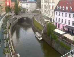 Ljubljana – Cankarjevo Nabrežje und Tromostovje Webcam Live