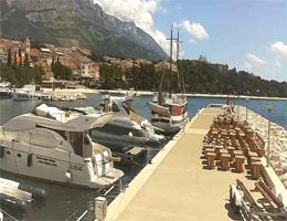 Baška Voda – Marina – Stadt und Biokovo Gebirge Webcam Live